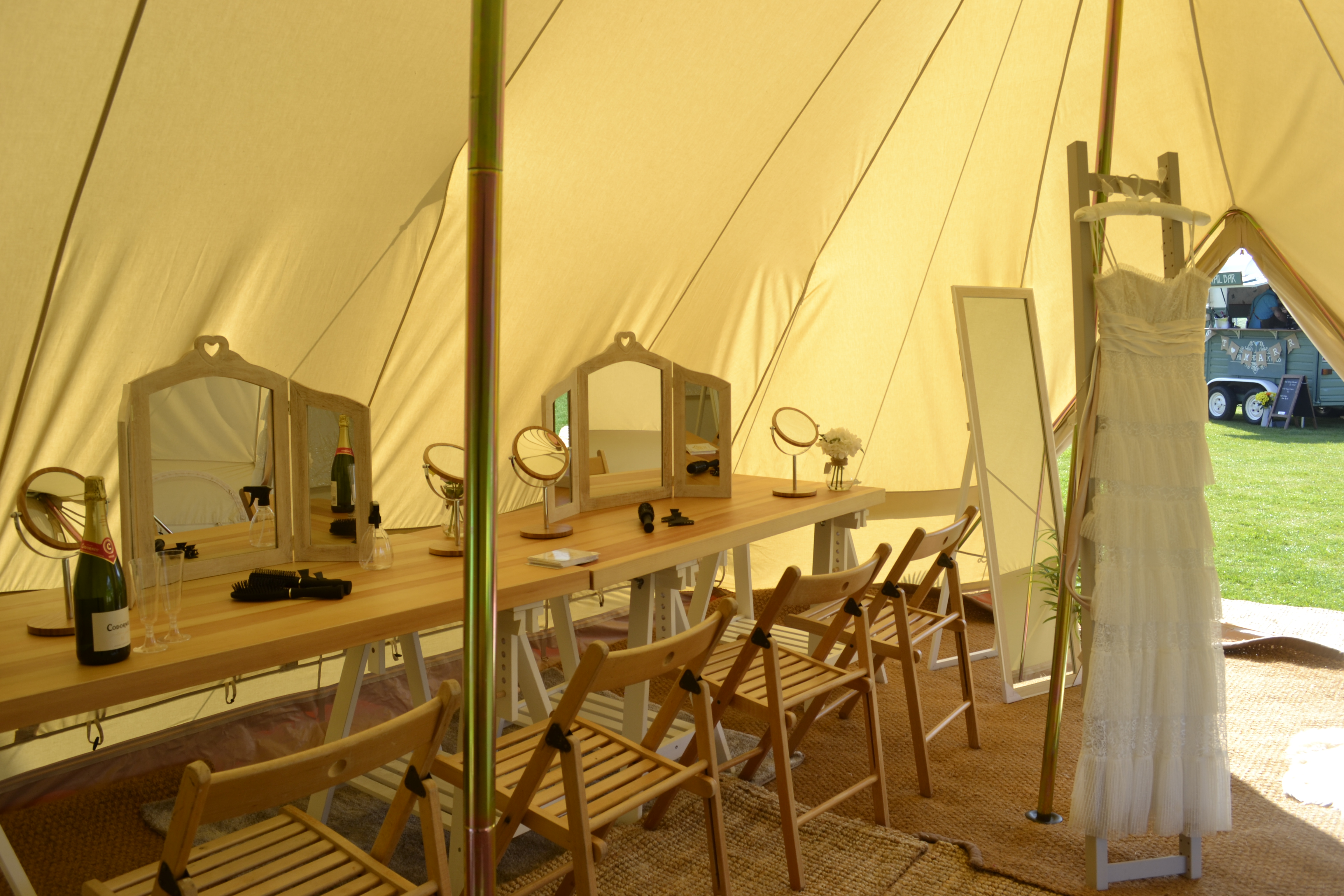 Inside of a pamper bell tent at a bell tent wedding